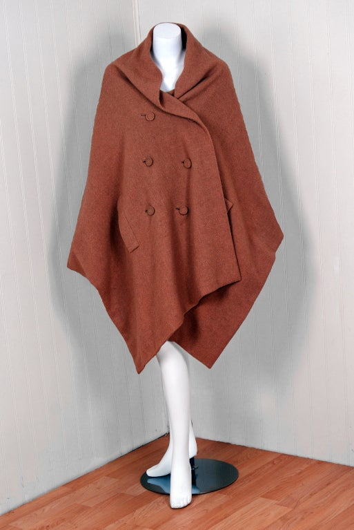 1955 Christian Dior Haute-Couture Mocha Wool Cape-Coat & Blouse image 2