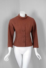 1955 Christian Dior Haute-Couture Mocha Wool Cape-Coat & Blouse thumbnail 3