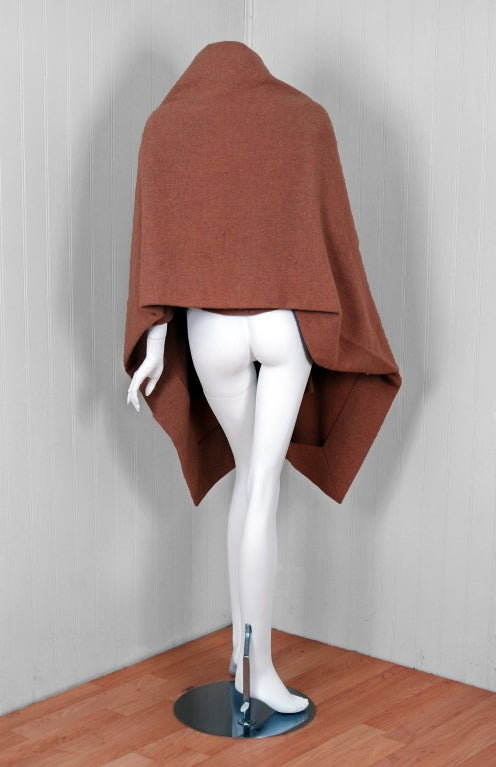 1955 Christian Dior Haute-Couture Mocha Wool Cape-Coat & Blouse image 5