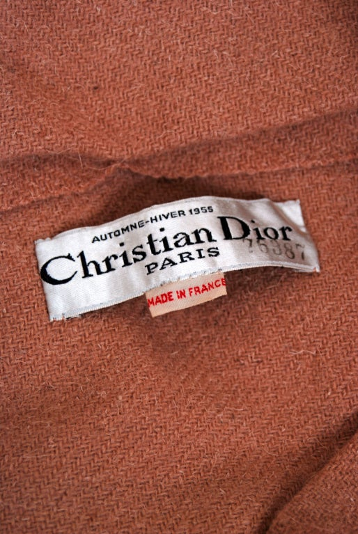 1955 Christian Dior Haute-Couture Mocha Wool Cape-Coat & Blouse image 6