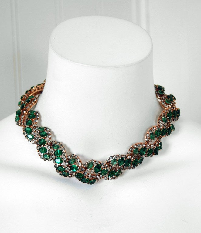 1958 Christian Dior Signed Emerald-Green Rhinestone Choker Necklace 2