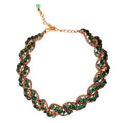 1958 Christian Dior Signed Emerald-Green Rhinestone Choker Necklace