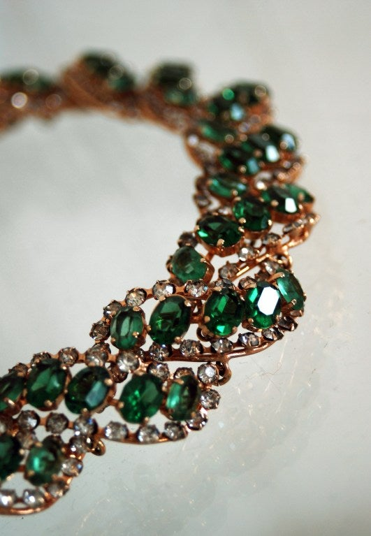 1958 Christian Dior Signed Emerald-Green Rhinestone Choker Necklace 3