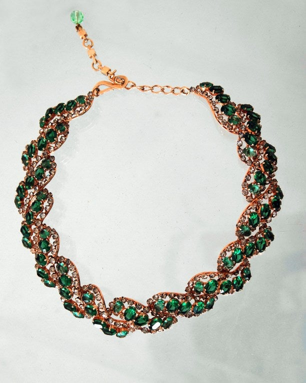 1958 Christian Dior Signed Emerald-Green Rhinestone Choker Necklace 5