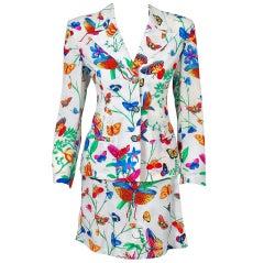 1990's Gianni Versace Butterfly Print Silk Mini Skirt & Jacket