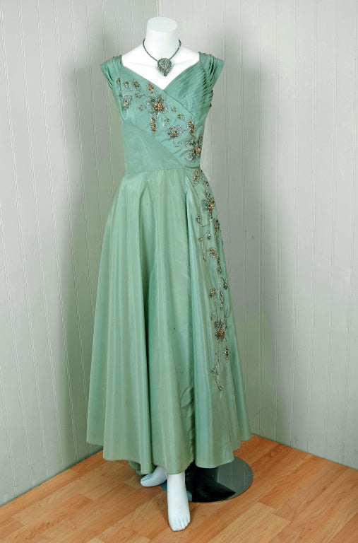 1940 S Gothe Mint Green Beaded Metallic Taffeta Trained