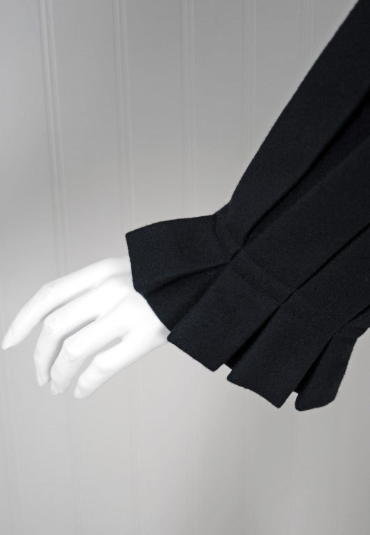 1990's Issey Miyake Pleated Black Wool Cropped Swing Coat Jacket 4