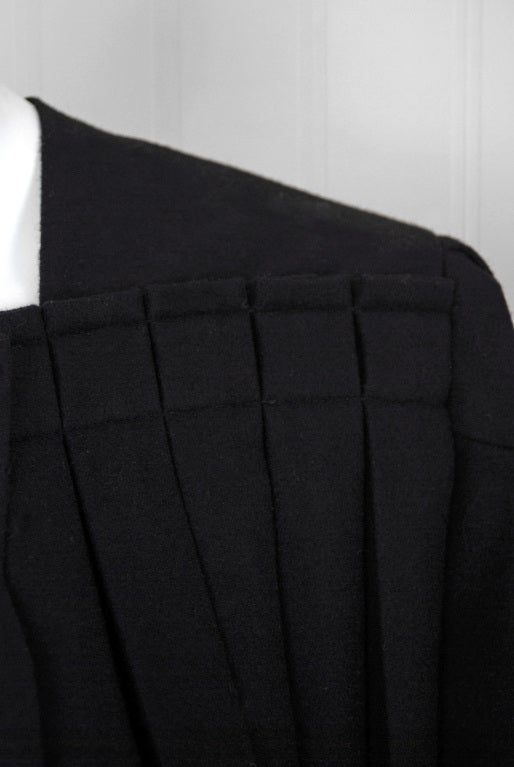 1990's Issey Miyake Pleated Black Wool Cropped Swing Coat Jacket 5