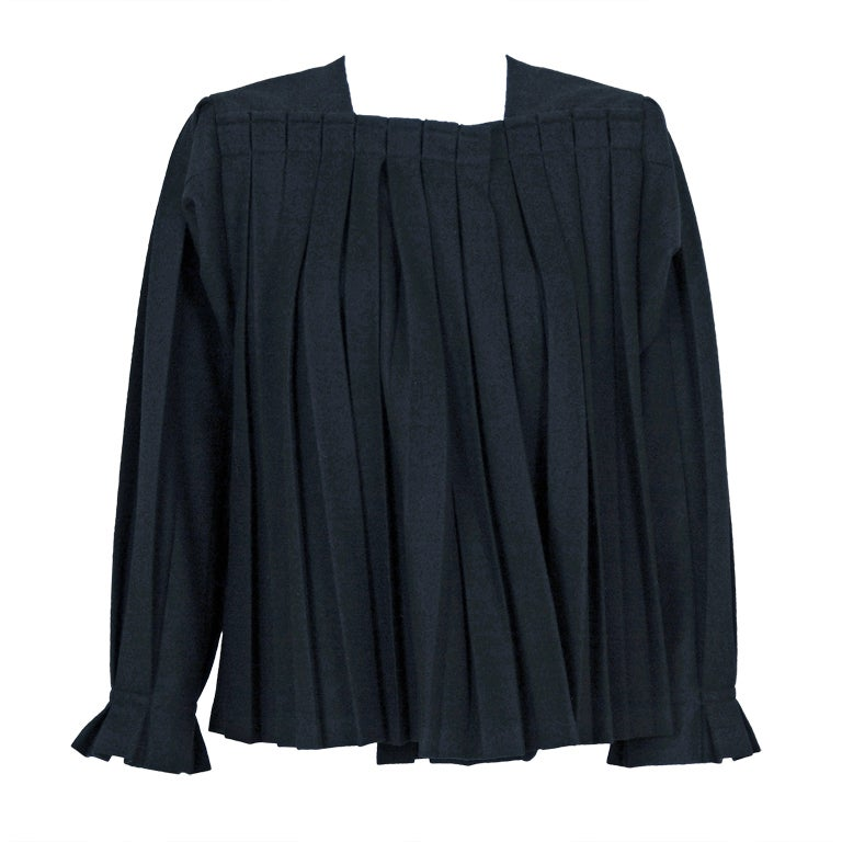 1990's Issey Miyake Pleated Black Wool Cropped Swing Coat Jacket 1