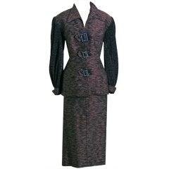 1940's Lilli-Ann Rhinestones Mocha Silk Pleated-Sleeves Suit