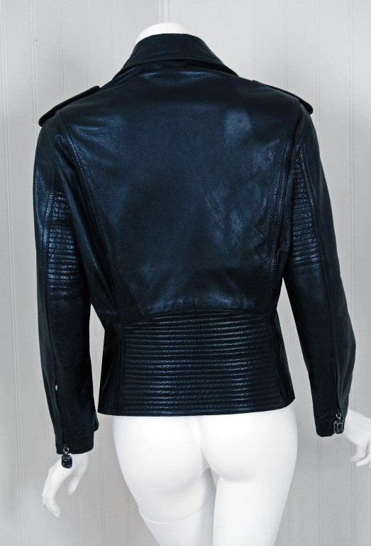 1996 Gianni Versace Couture Rare Black Leather Fitted Motorcycle Biker Jacket For Sale 1