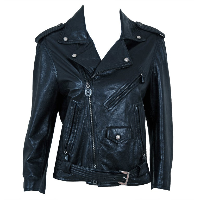 1996 Gianni Versace Couture Rare Black Leather Fitted Motorcycle Biker Jacket For Sale