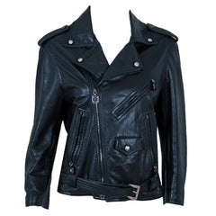 1996 Gianni Versace Couture Rare Black Leather Fitted Motorcycle Biker Jacket