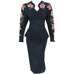 1940's Black Floral-Appliques Embroidered Rayon Peplum Dress