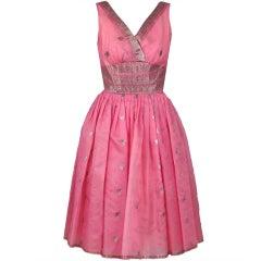 1950's Metallic Baby-Pink Organza Shelf-Bust Party Dress & Shawl