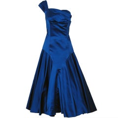 1950's Maxwell Shieff Royal-Blue Satin One-Shoulder Party Dress