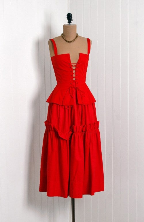 1970's Yves Saint Laurent Ruby-Red Corset Peasant Dress 2