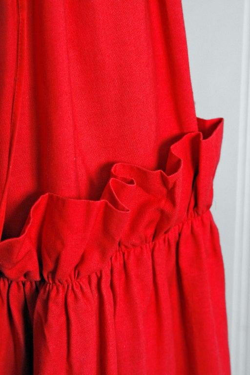 1970's Yves Saint Laurent Ruby-Red Corset Peasant Dress 4