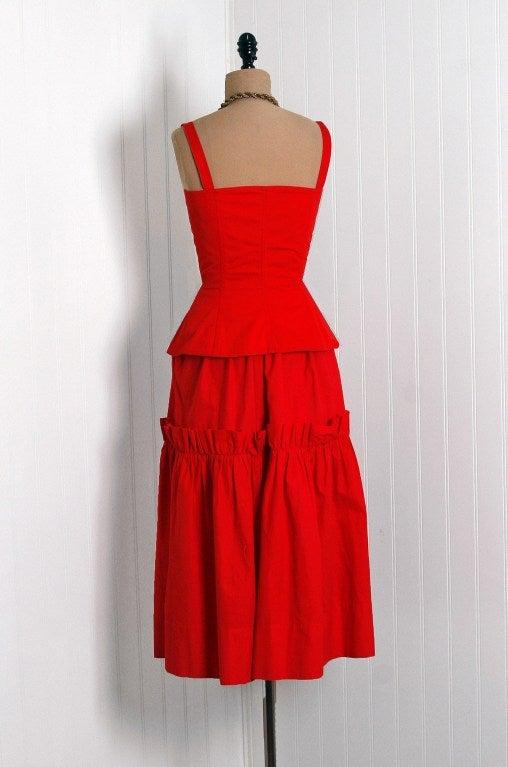 1970's Yves Saint Laurent Ruby-Red Corset Peasant Dress 5