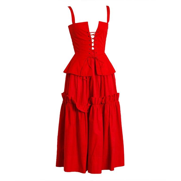 1970's Yves Saint Laurent Ruby-Red Corset Peasant Dress 1