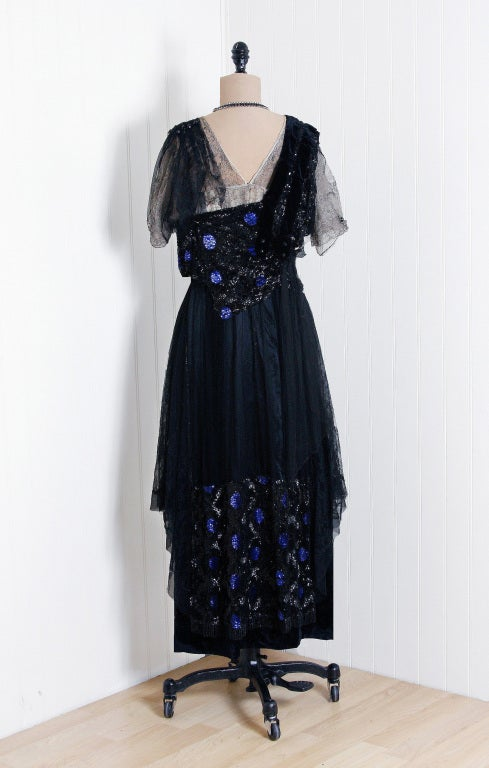 1910's Edwardian Sequin-Sparkle Silk & Chantilly-Lace Tea Gown 6