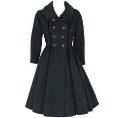 1940's Lilli-Ann Black Wool Velvet Double-Breasted Princess Coat