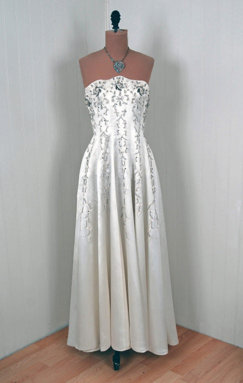 1940's White Beaded Embroidered Rhinestone Satin Strapless Gown 2