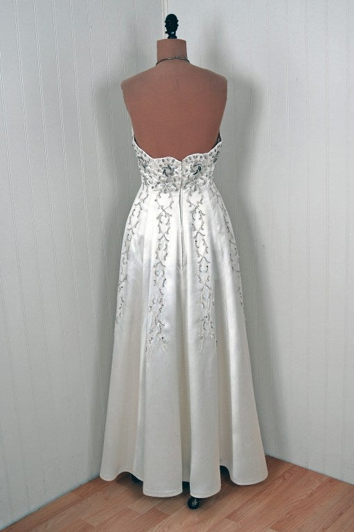 1940's White Beaded Embroidered Rhinestone Satin Strapless Gown 5