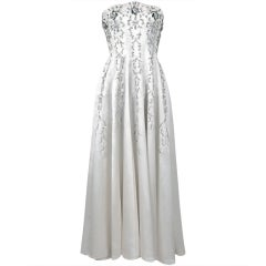 1940's White Beaded Embroidered Rhinestone Satin Strapless Gown