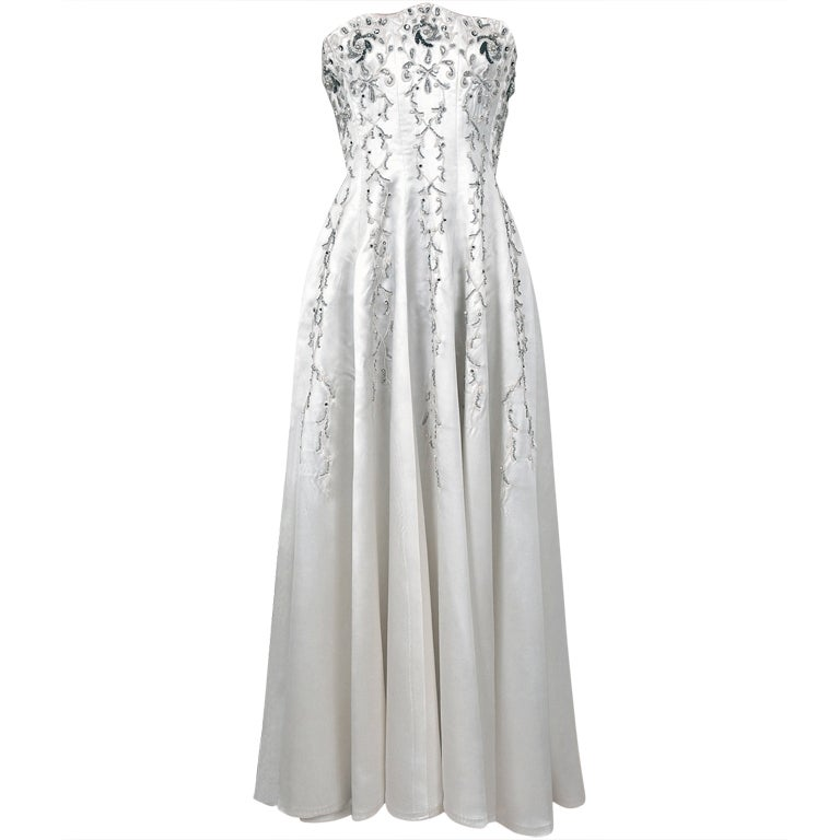1940's White Beaded Embroidered Rhinestone Satin Strapless Gown 1