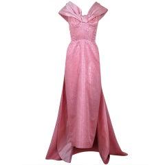 1950's Metallic Pink Silk-Brocade Hourglass Trained Goddess Gown