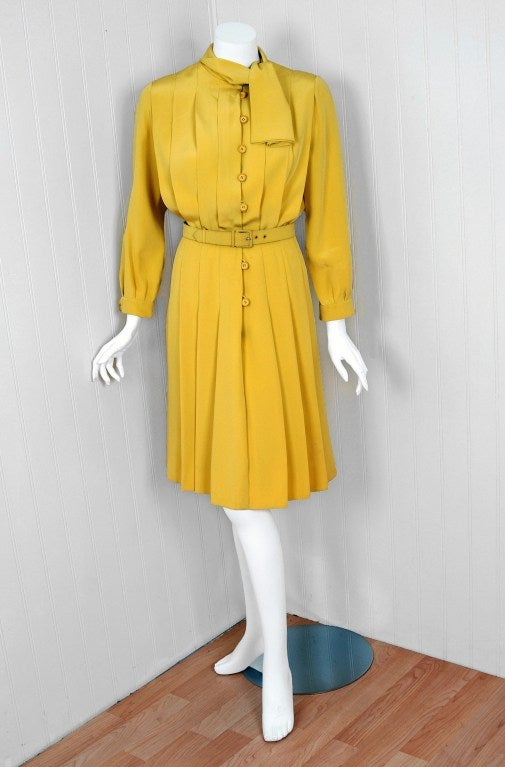 1965 Christian Dior Haute-Couture Chic Yellow Pleated-Silk Belted Dress 2