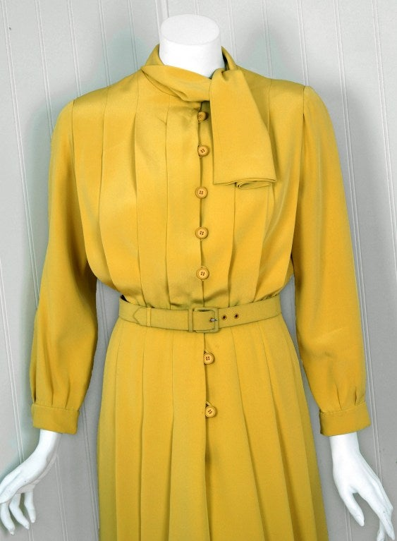 1965 Christian Dior Haute-Couture Chic Yellow Pleated-Silk Belted Dress 3