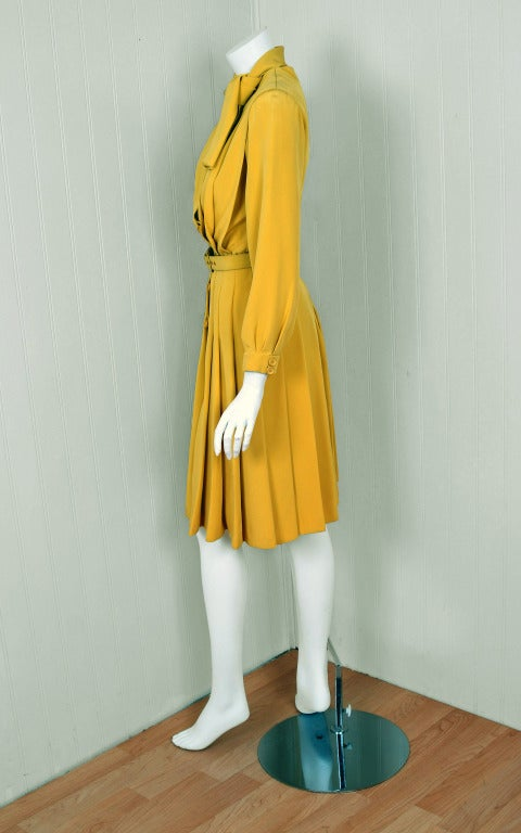 1965 Christian Dior Haute-Couture Chic Yellow Pleated-Silk Belted Dress 4