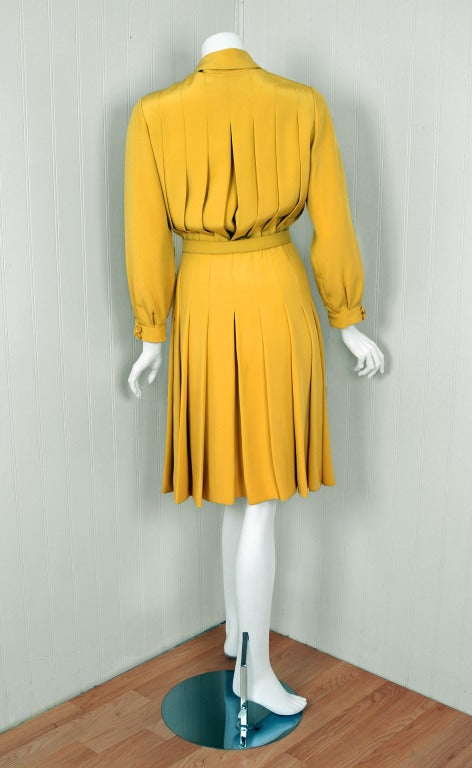1965 Christian Dior Haute-Couture Chic Yellow Pleated-Silk Belted Dress 5