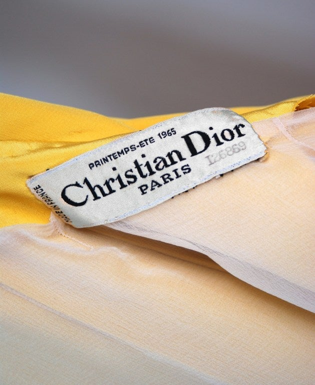 1965 Christian Dior Haute-Couture Chic Yellow Pleated-Silk Belted Dress 6
