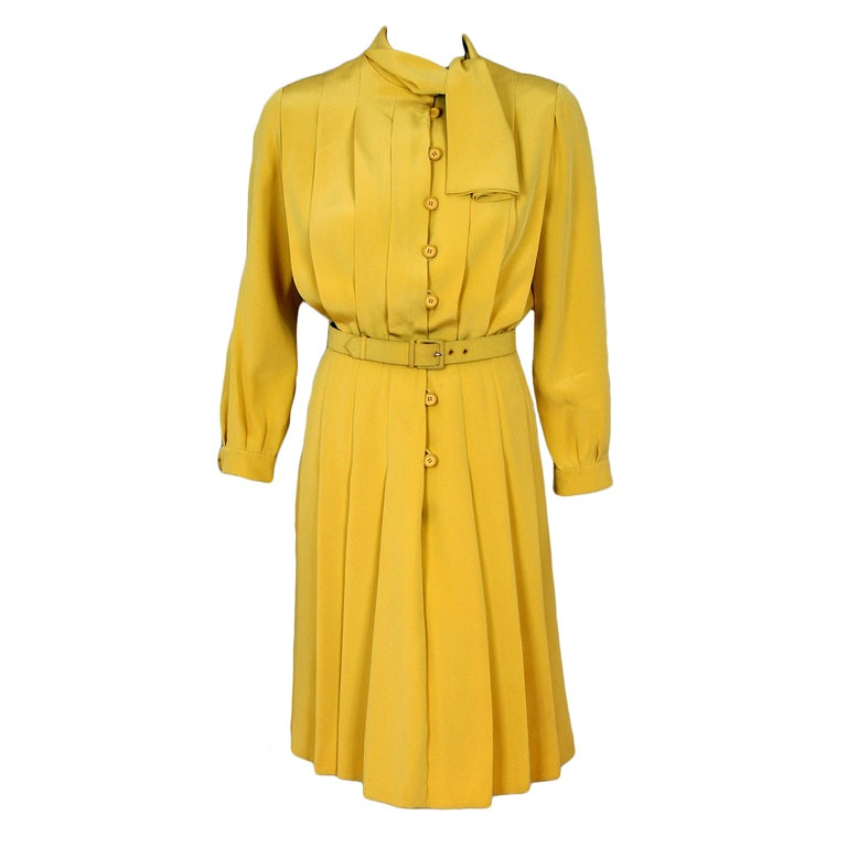 1965 Christian Dior Haute-Couture Chic Yellow Pleated-Silk Belted Dress 1