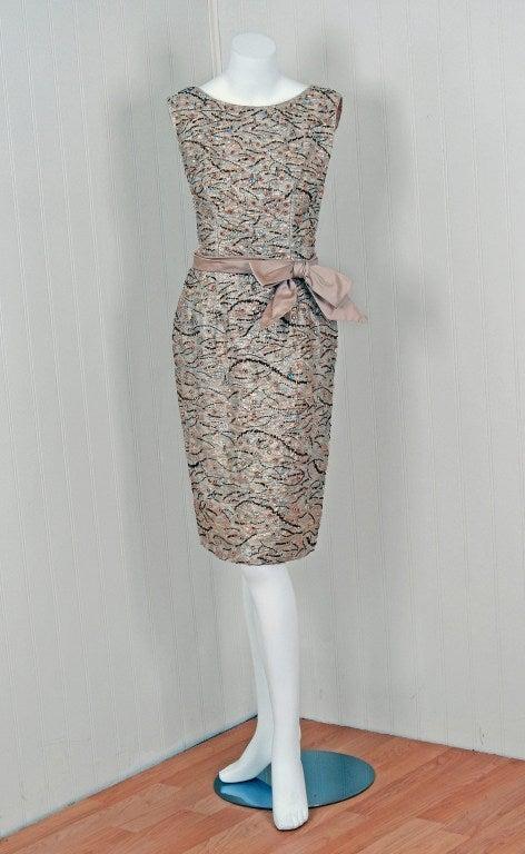 1960's Edward Abbott Metallic Silver Gold Beaded Brocade Dress 2