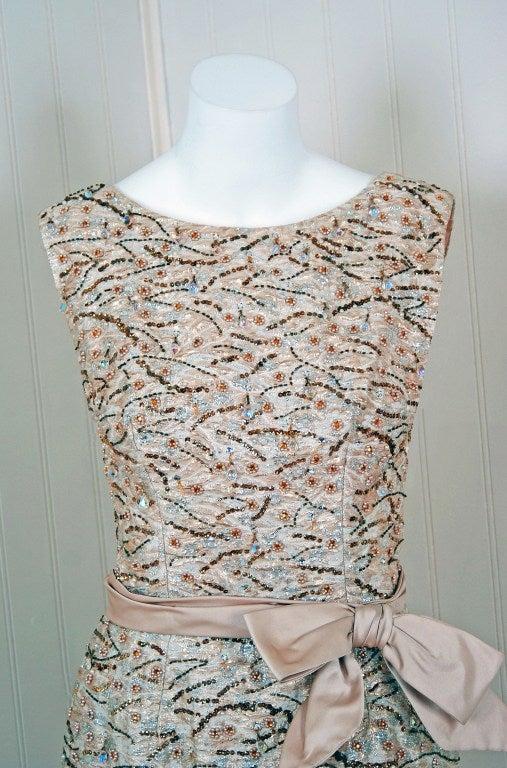 1960's Edward Abbott Metallic Silver Gold Beaded Brocade Dress 3