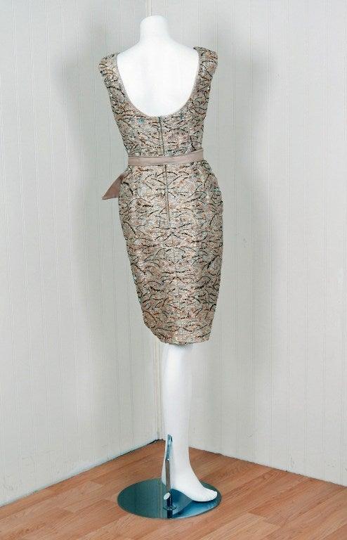 1960's Edward Abbott Metallic Silver Gold Beaded Brocade Dress 5