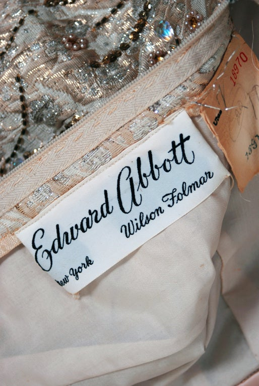 1960's Edward Abbott Metallic Silver Gold Beaded Brocade Dress 6