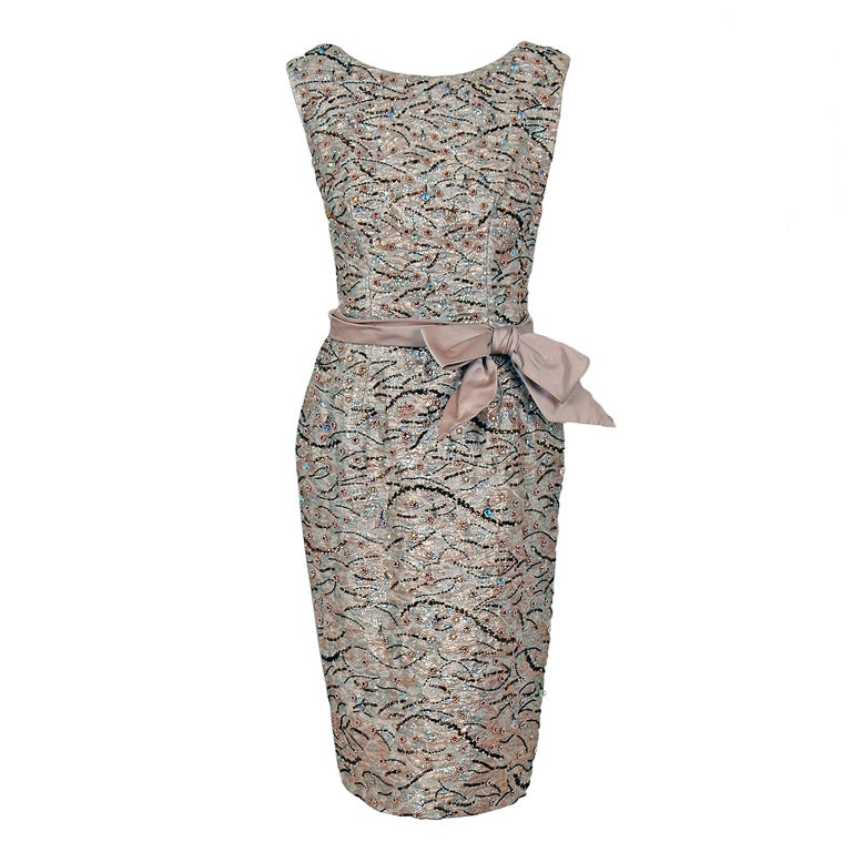 1960's Edward Abbott Metallic Silver Gold Beaded Brocade Dress 1