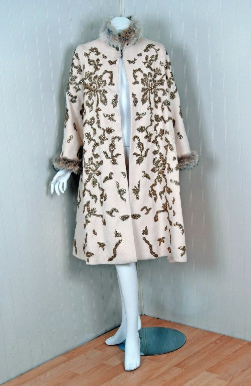 1990's Oscar de la Renta Bouillon and Sequin Embroidered Coat 2