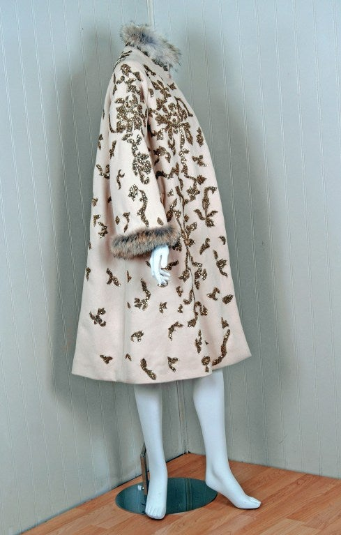1990's Oscar de la Renta Bouillon and Sequin Embroidered Coat 4