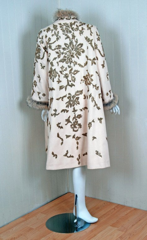 1990's Oscar de la Renta Bouillon and Sequin Embroidered Coat 5