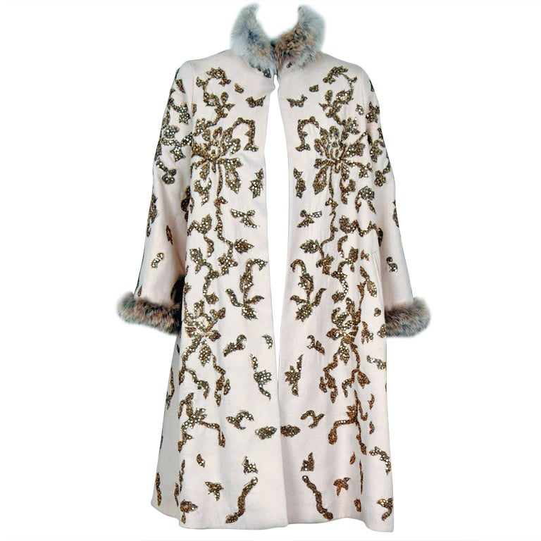 1990's Oscar de la Renta Bouillon and Sequin Embroidered Coat 1