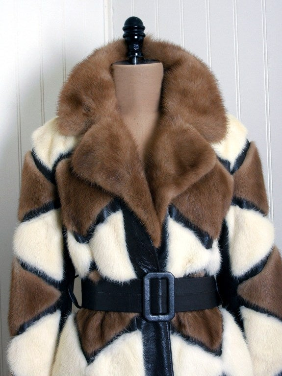 Women's 1960's Luxurious Ivory & Brown Patchwork Mink-Fur Belted Coat