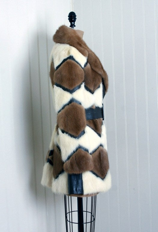 1960's Luxurious Ivory & Brown Patchwork Mink-Fur Belted Coat 1