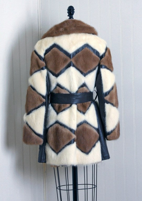 1960's Luxurious Ivory & Brown Patchwork Mink-Fur Belted Coat 3