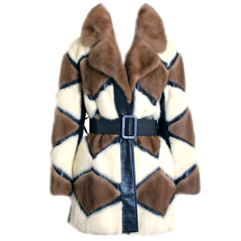 1960's Luxurious Ivory & Brown Patchwork Mink-Fur Belted Coat
